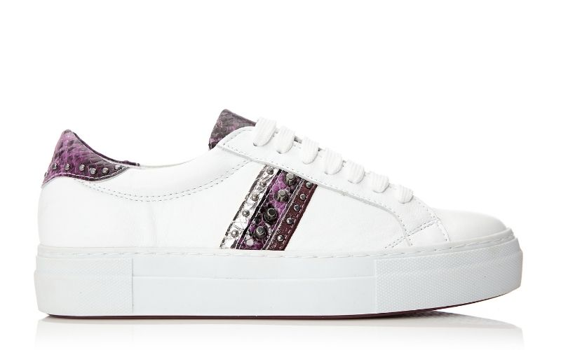 Alphie White - Snake Leather Trainer