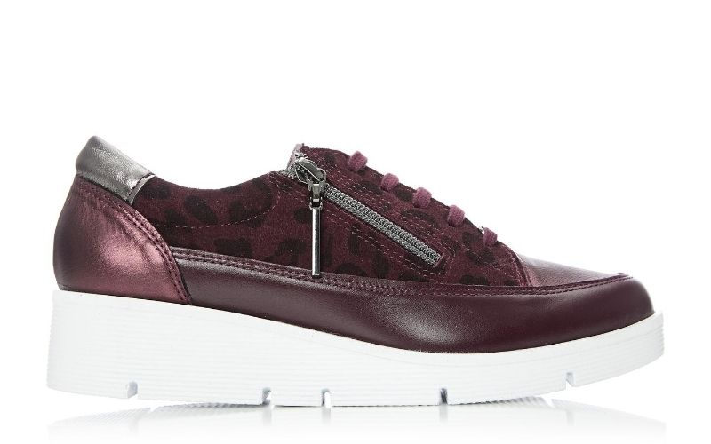 Beena Burgundy - Leopard Leather