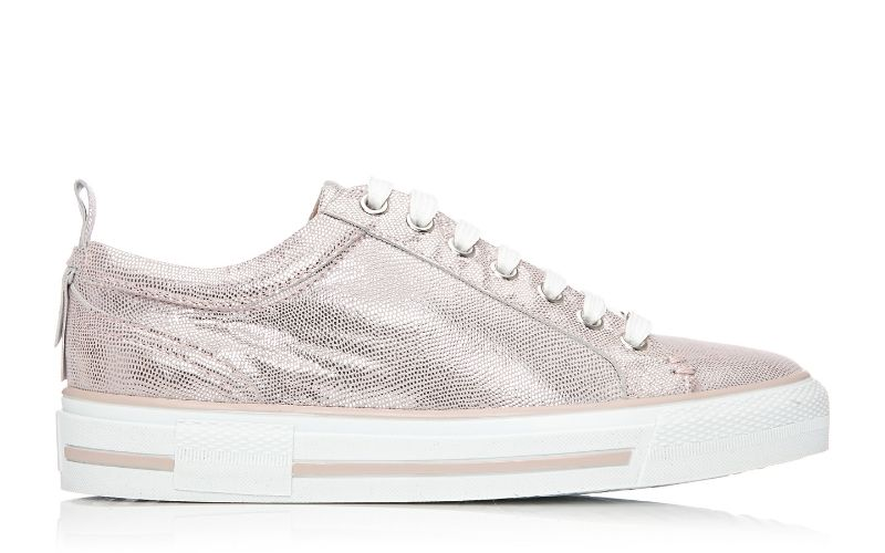 Fizette Rose Gold Metallic Leather Trainer