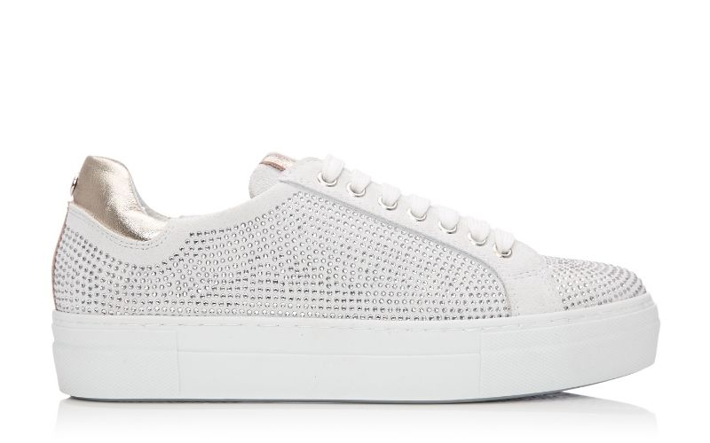 Azzina White Suede Shoes