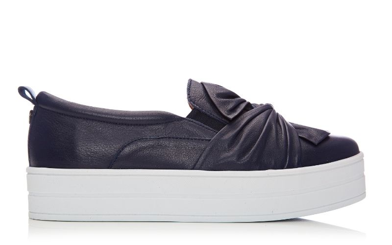 Anais Navy Leather Trainer
