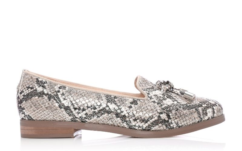 Elissy Nude Silver Metallic Snake Print Shoes