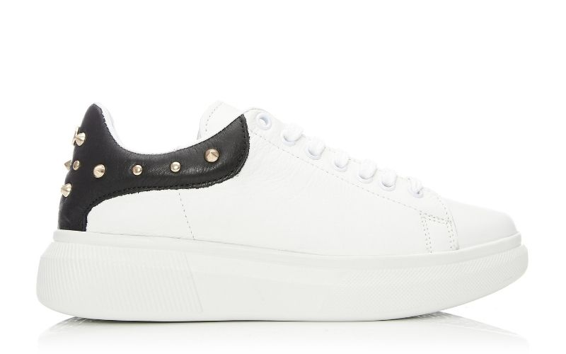 Briton White Leather Trainer