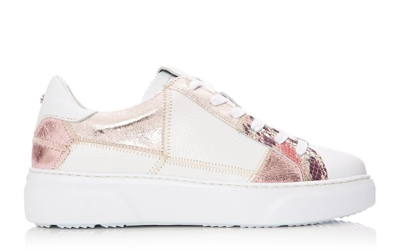 Brylonia White - Rose Gold Snake Print Trainer
