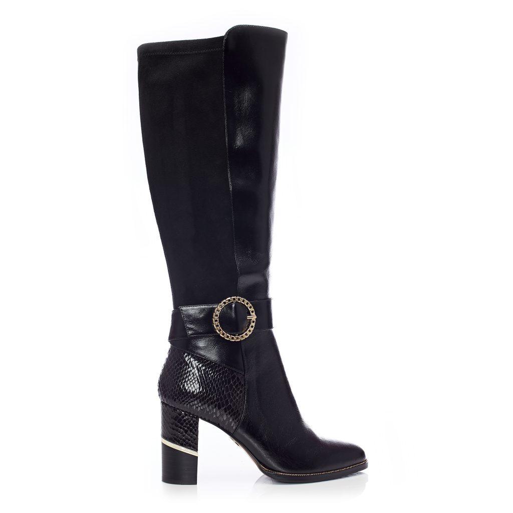 Kellisha black leather boots