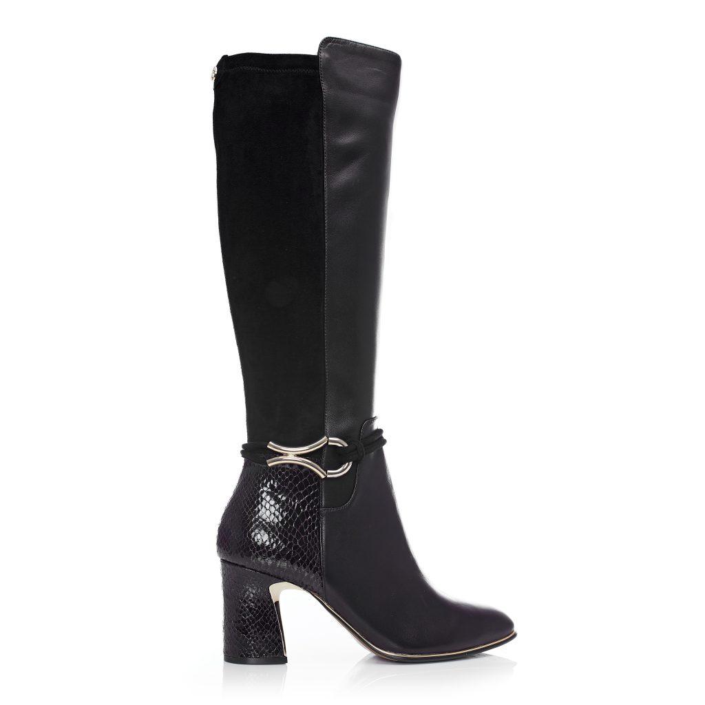 Lizereti black leather boots