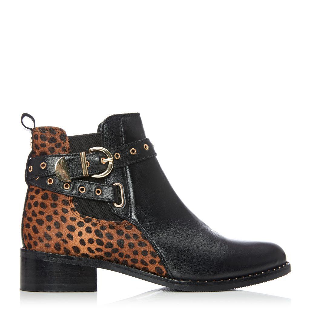Melinda Black - Mini Leopard Leather boots