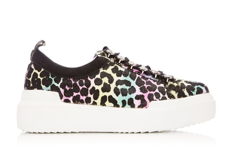 Alejandra Rainbow Leopard Calf Hair Trainer