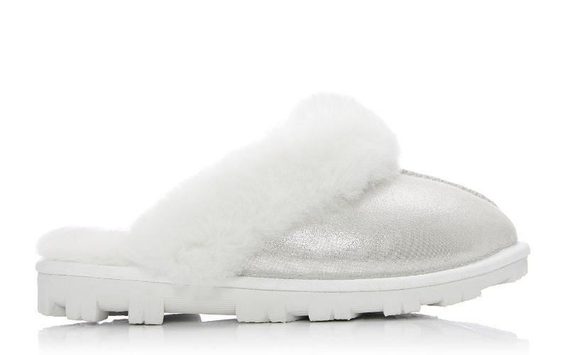 Cosie White-Metallic Sheepskin Slippers