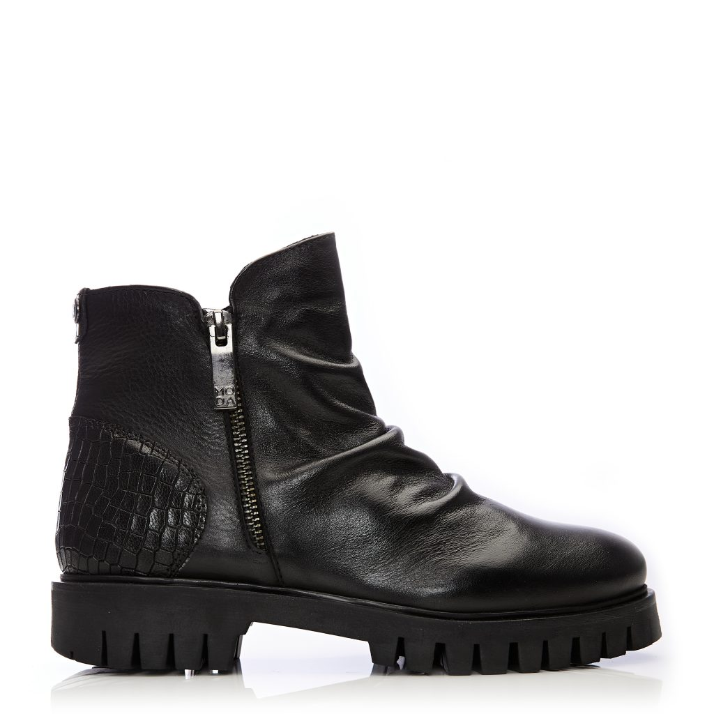 Ashleigh Black Leather Boots