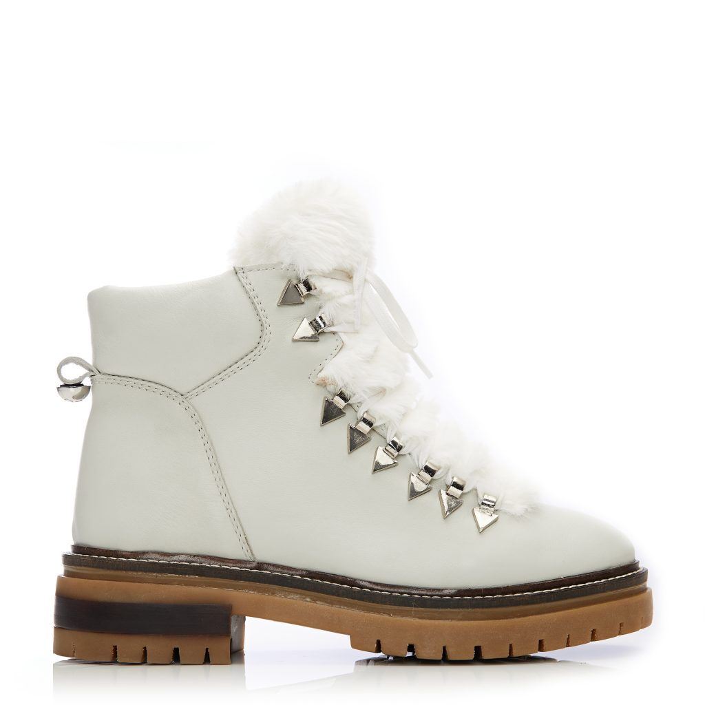 Chikkara White Leather Boots