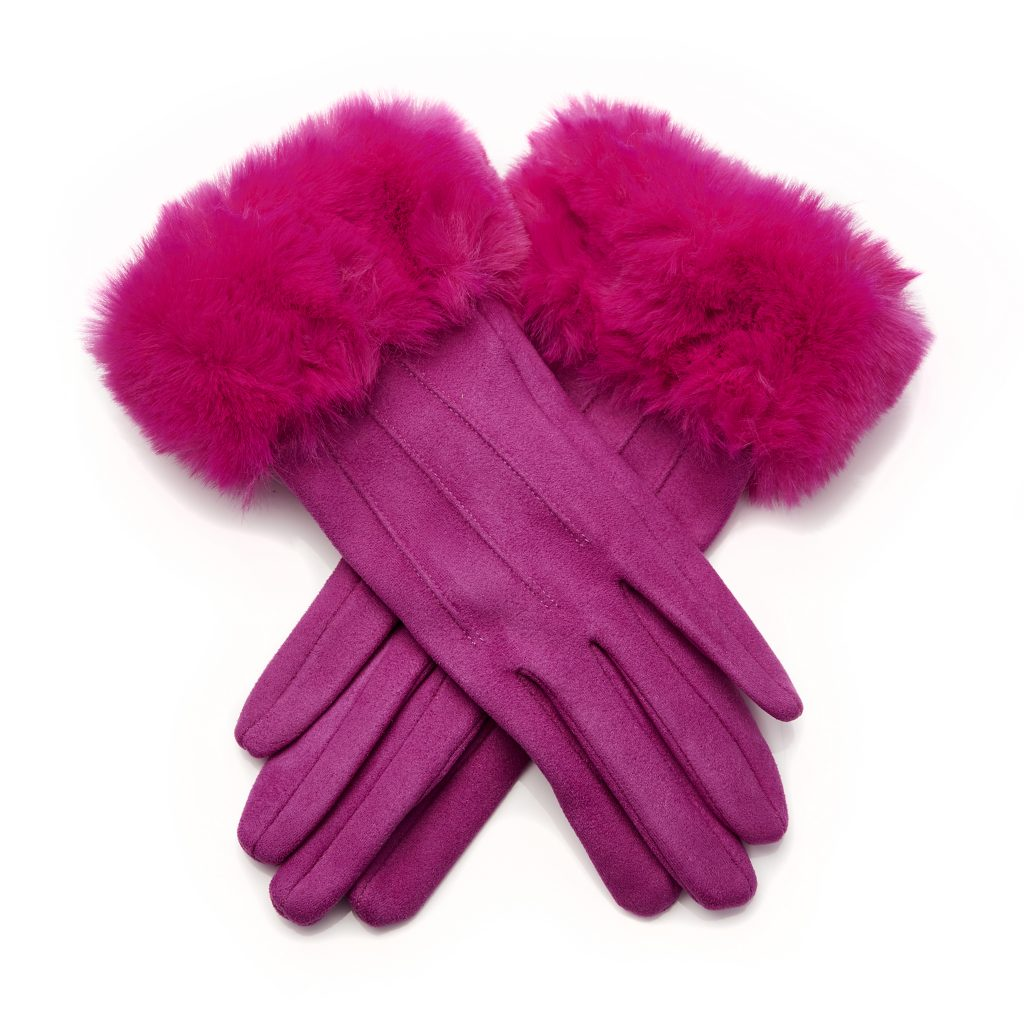 Florraglove Fuschia Faux Fur Gloves