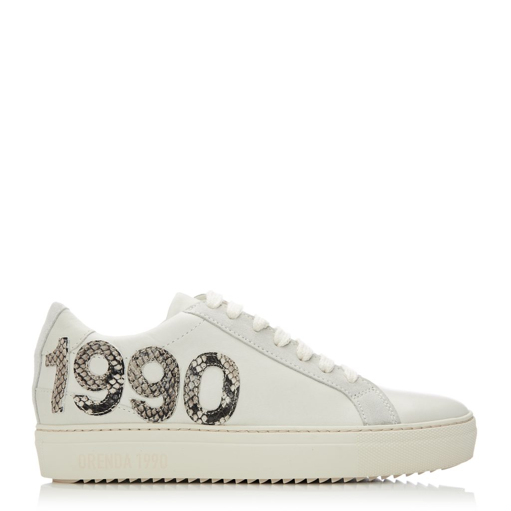 Brooklynn Off White Leather Trainers