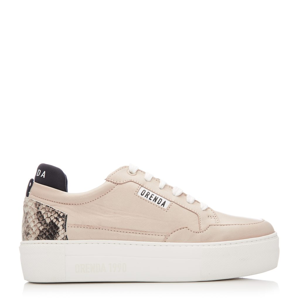 Bury Beige Leather Trainers
