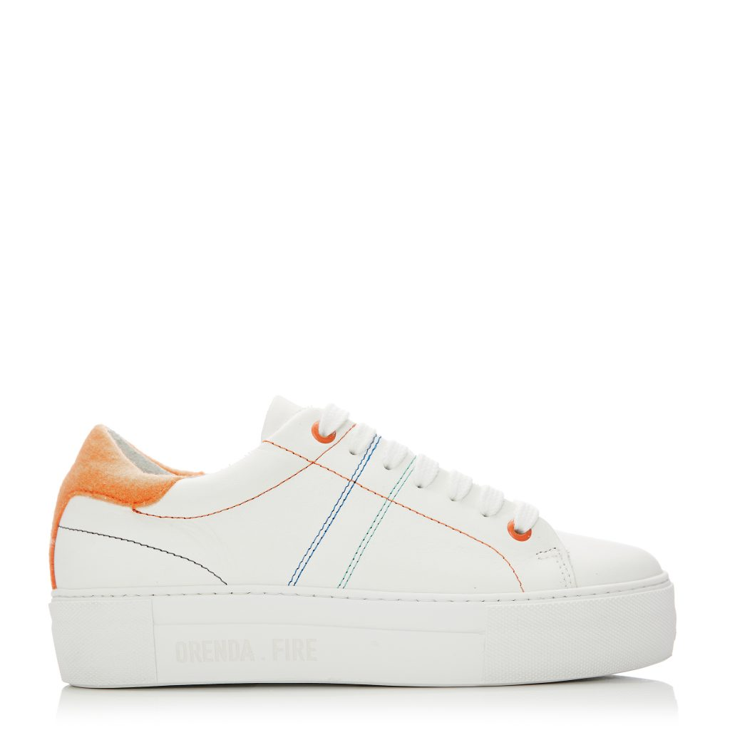 Manchester White Orange Leather Trainers