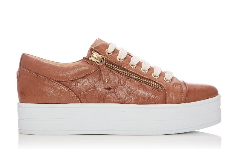 Aliamoda Tan Leather Trainers
