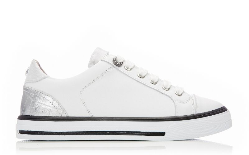 Ardina White - Silver Leather Trainers
