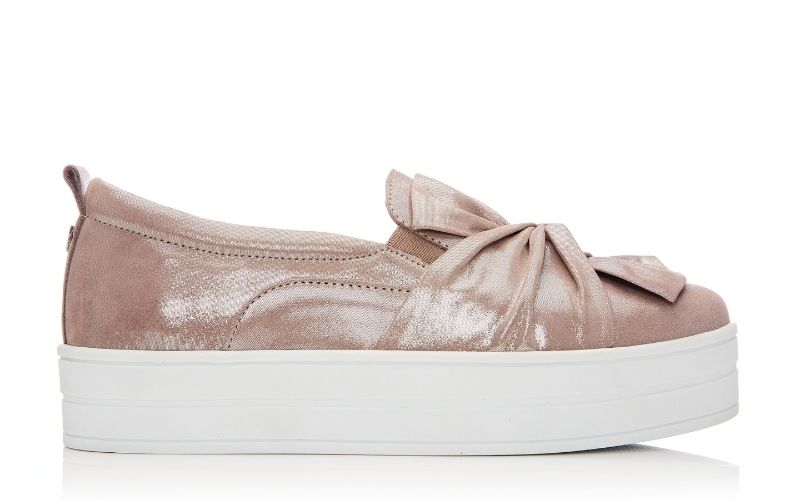 Anais Taupe Metallic Leather Trainers