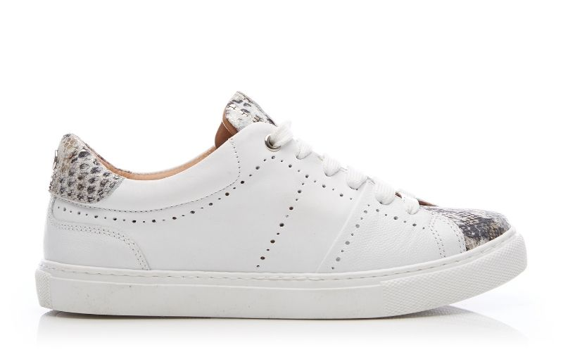 Astina White - Snake Leather Trainers