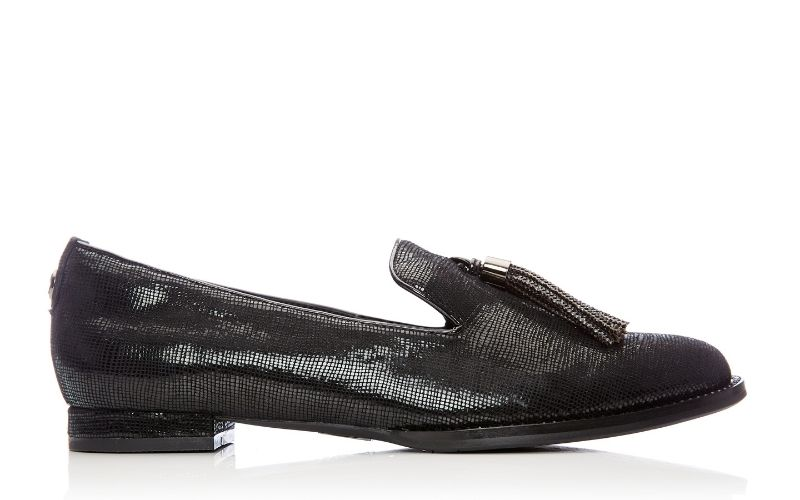 Evangeline Black Lizard Shoes