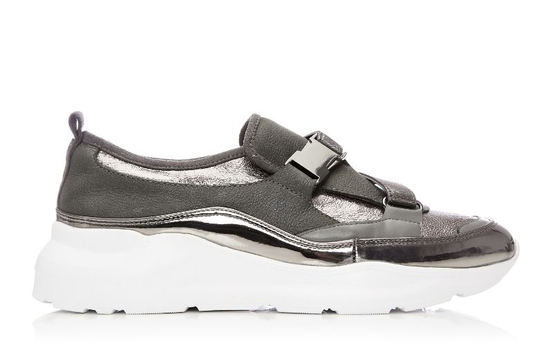 Brynna Pewter Metallic Leather Trainers