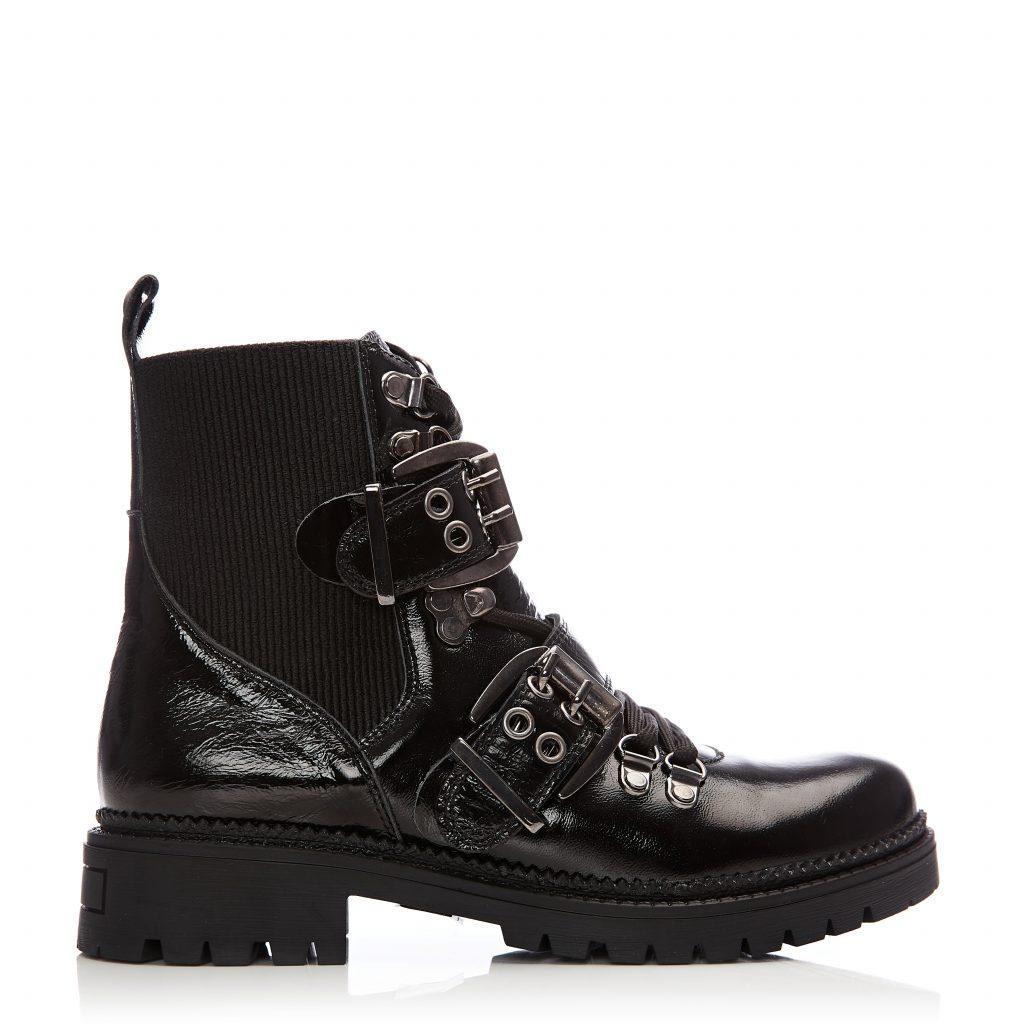 Britta Black Patent Leather Boots