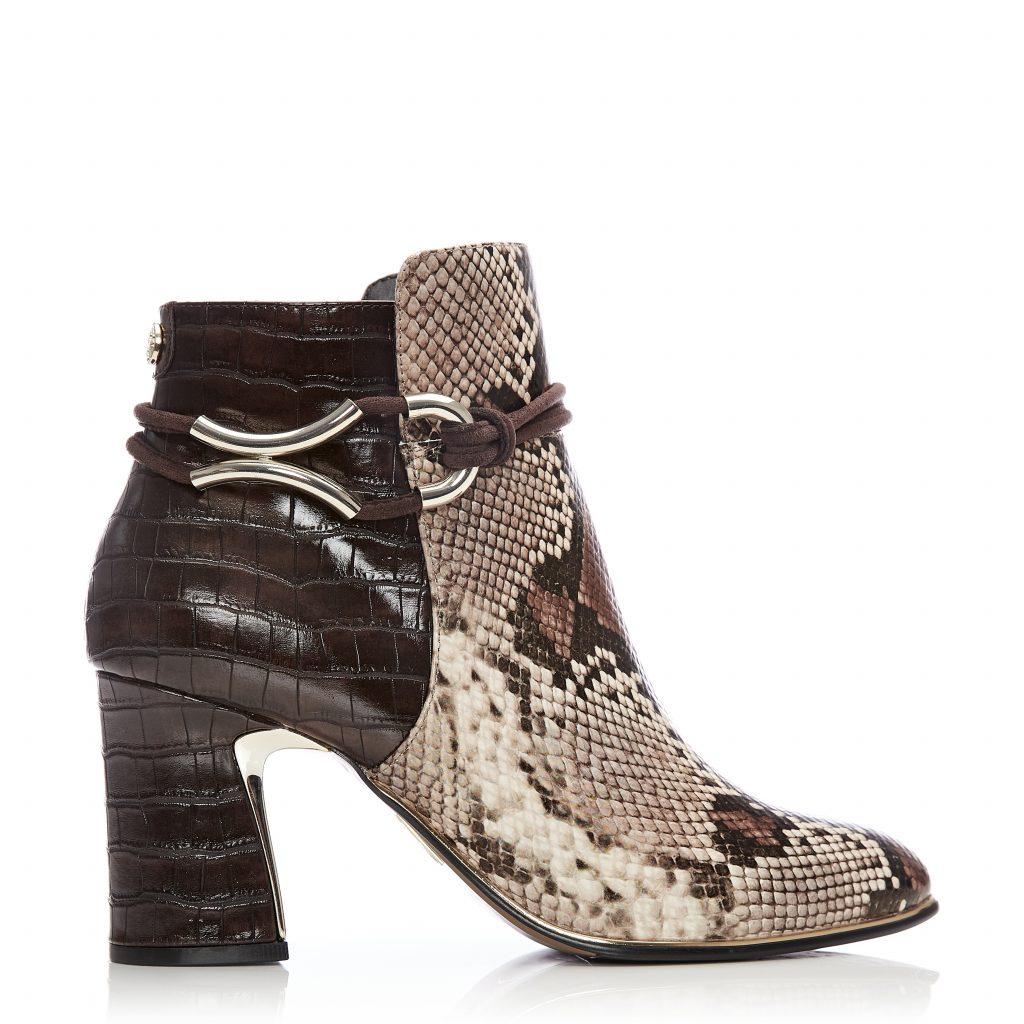 Lorile Brown Snake Snake Print Boots