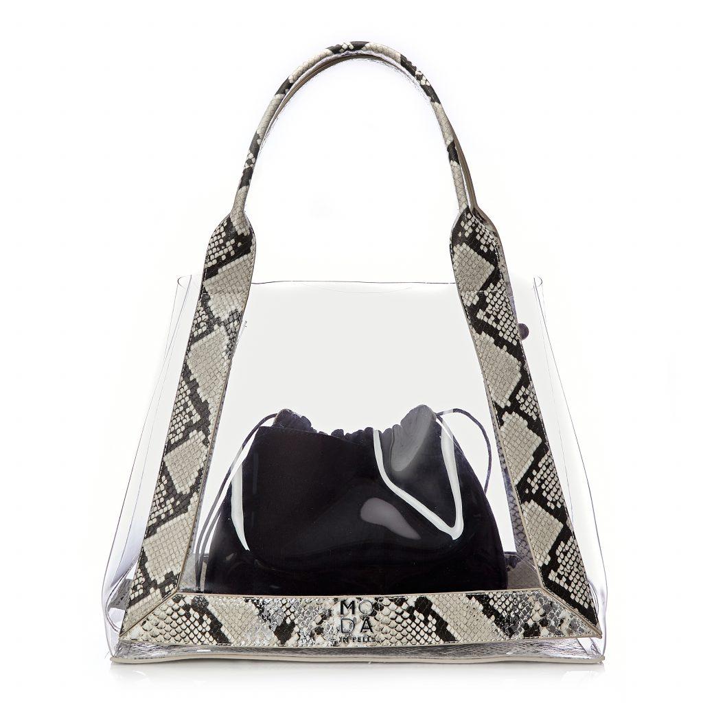 Perisiabag White - Silver Snake Print