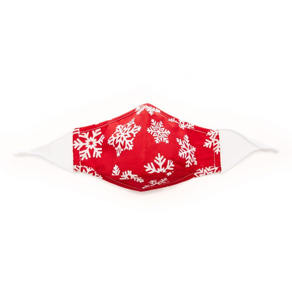 Snowflake Mask White Red Textile