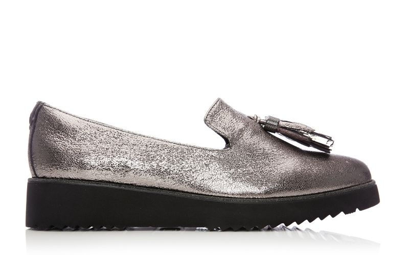 Ellzora Pewter Metallic Leather