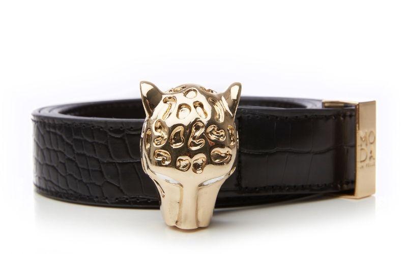 Leopardbelt Black Patent Mocc Croc