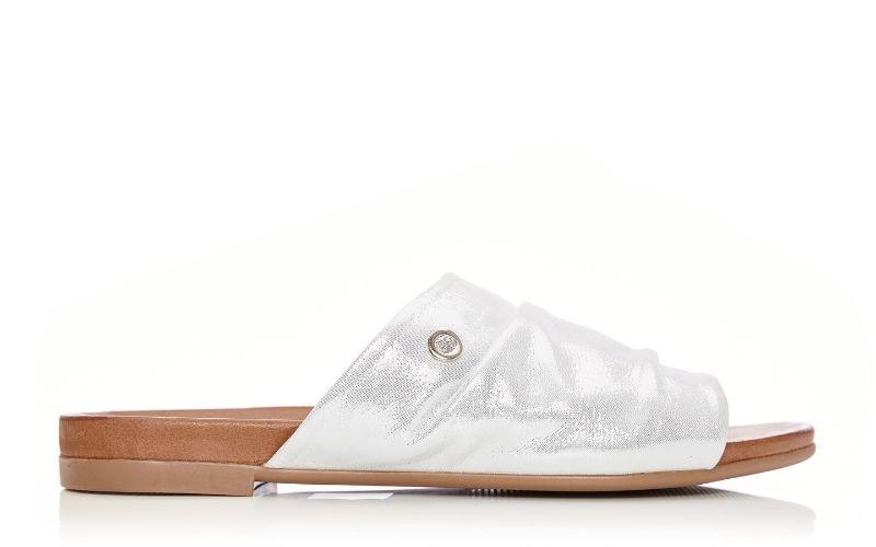 Ishia White Metallic Leather