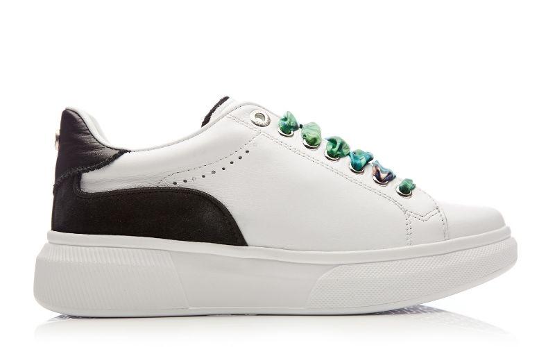 Britia White Black Leather