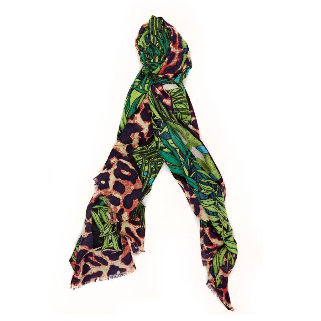 Jungellescarf Green - Leopard Fabric