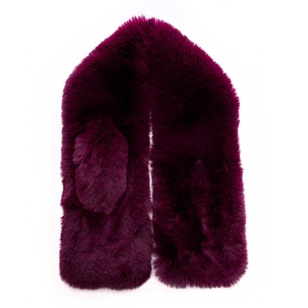 Frayascarf Berry Faux Fur