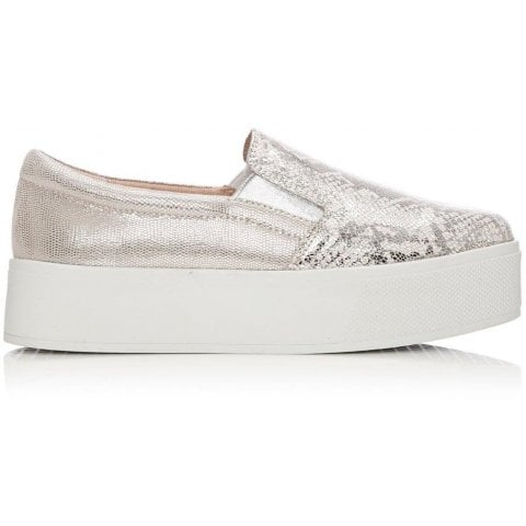 Astera Nude Silver Metallic Leather