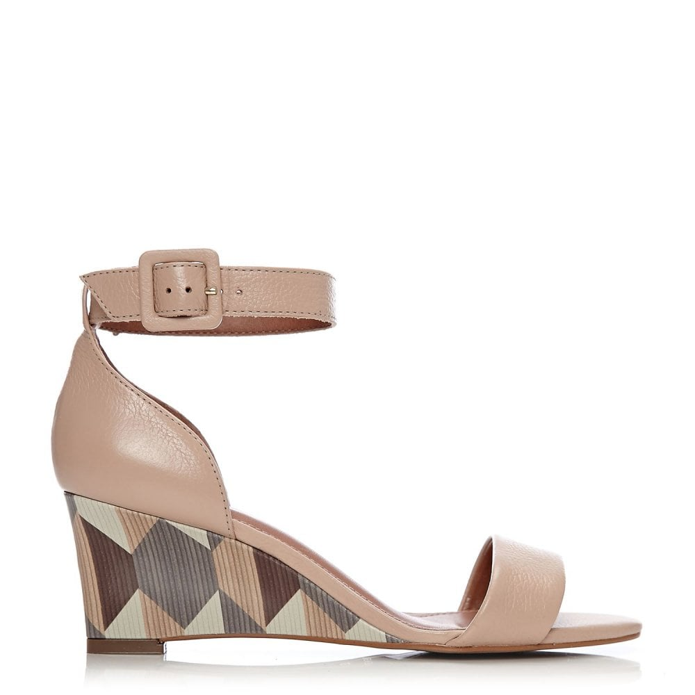 mode in pelle Tan Leather Sandals Wedge Heels Size 3/36