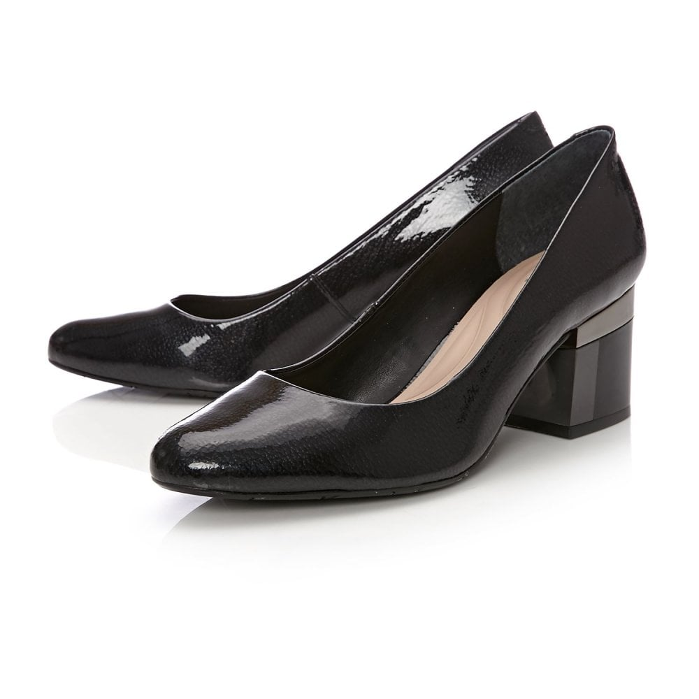 Moda in Pelle Daynie Womens UK 4 /& 5 Black Patent Leather Block Heel Court Shoes