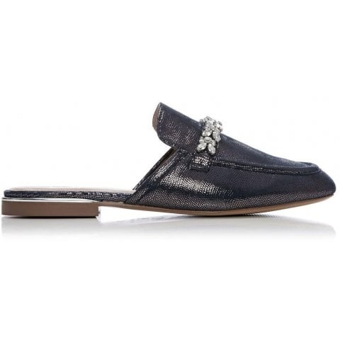 Eastie Navy Metallic Lizard Effect Leather
