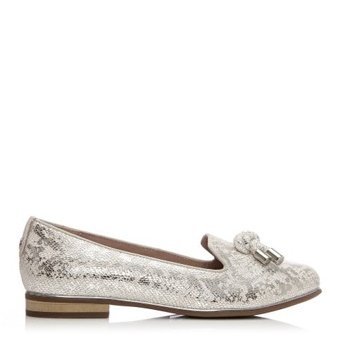 Estellan Nude Silver Metallic Leather