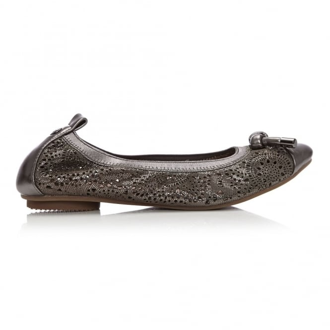 Felipa Grey Metallic Lizard Effect Leather