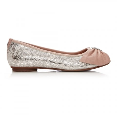 Frayli Nude Silver Metallic Leather