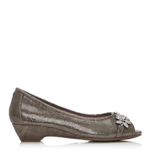 Gabriet Grey Metallic Lizard Effect Leather