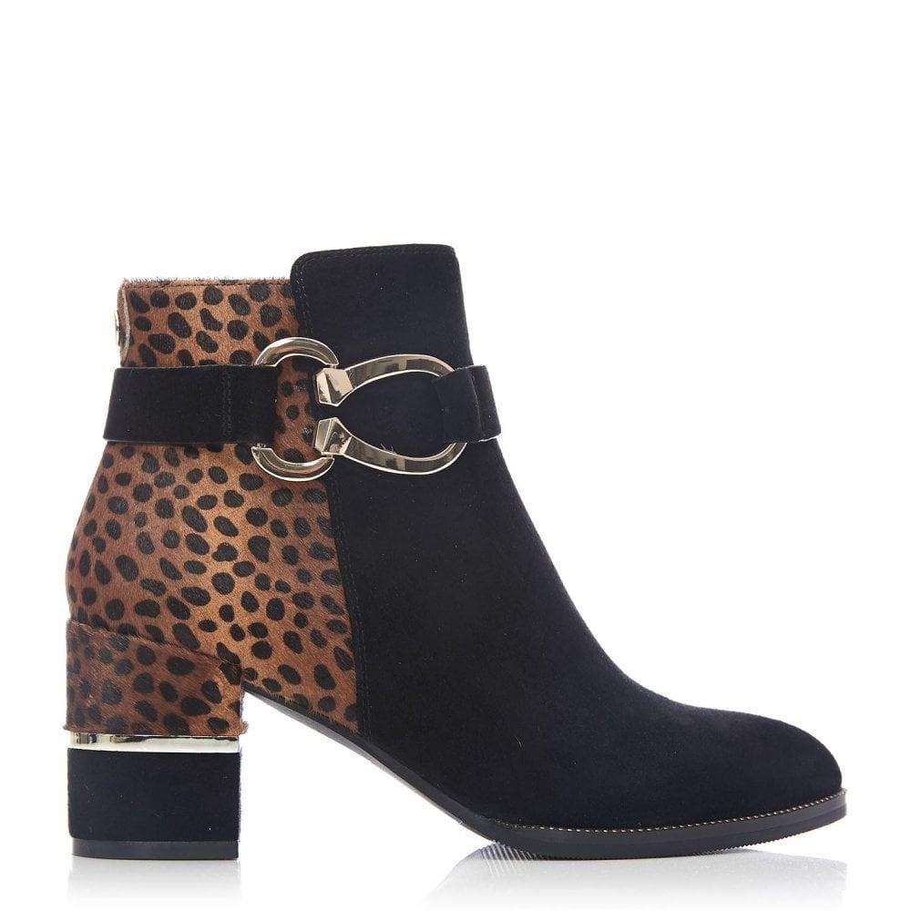 black boots with leopard print heel