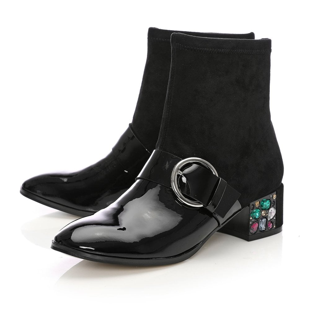 818e231a1101b Lynette Black Patent Leather - Boots from Moda in Pelle UK