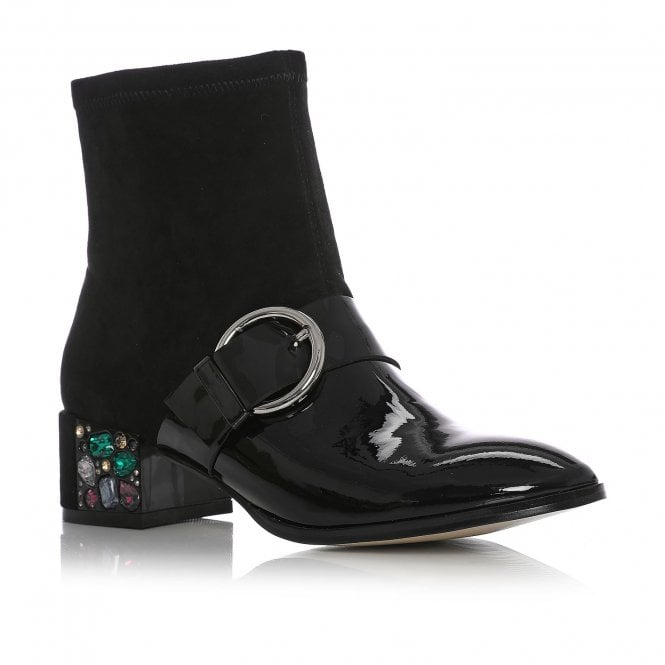 6164e32691501 Lynette Black Patent Leather - Boots from Moda in Pelle US UK