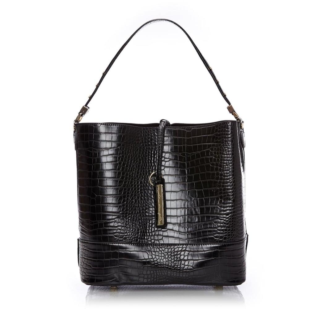 718cf4e2b3049 Penniebag Black Mocc Croc - Bags from Moda in Pelle US UK