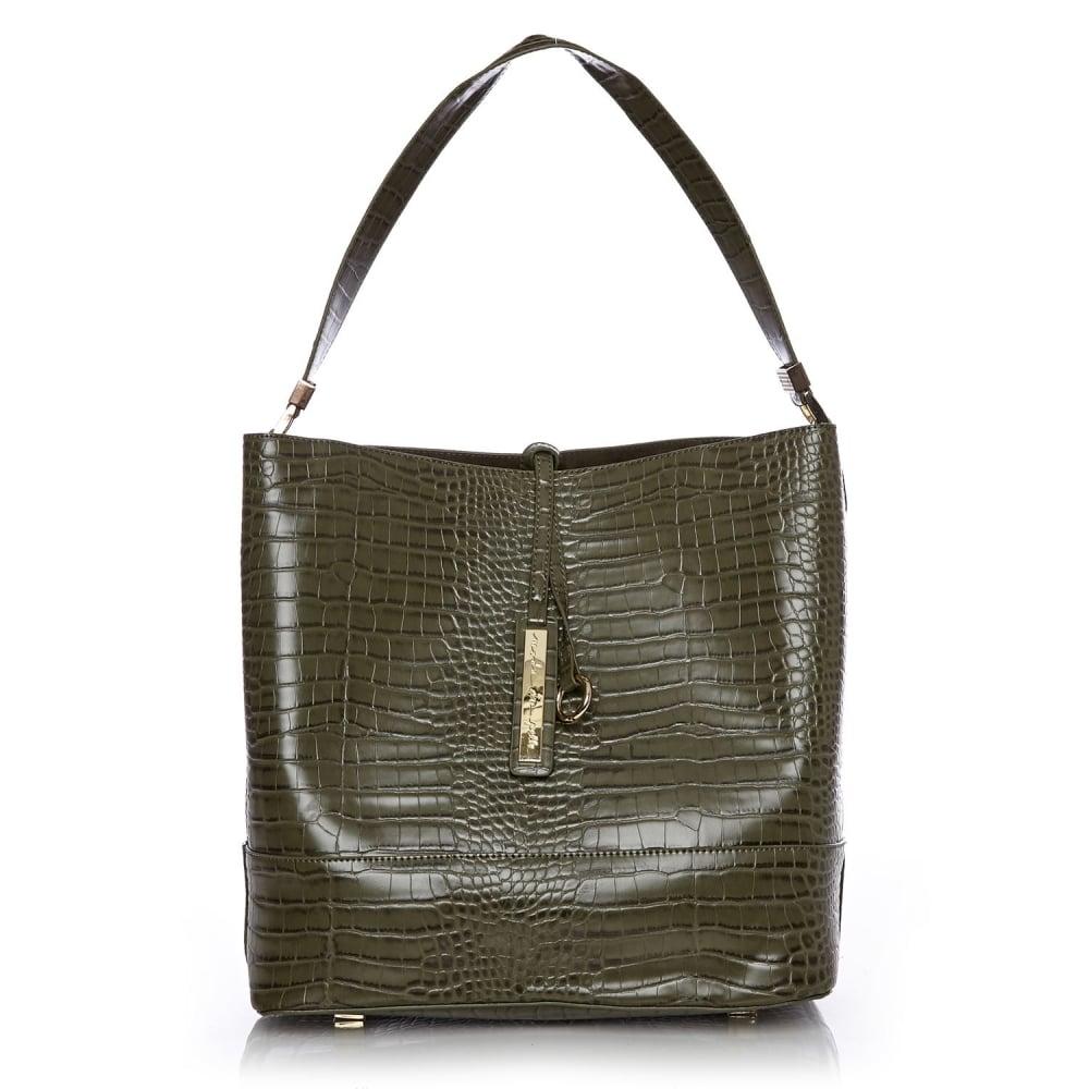 Penniebag Khaki Mocc Croc Bags From Moda In Pelle Uk